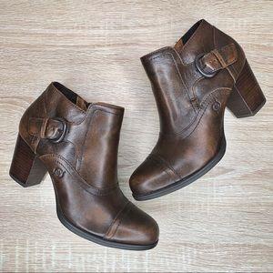 Born Brown Leather Block Heel Ankle Booties 7.5